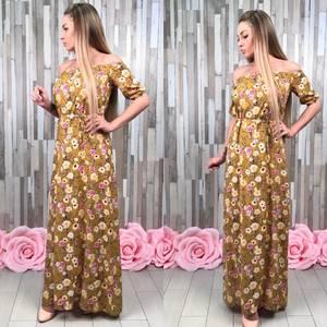 Платье длинное желтое с открытыми плечами С8816