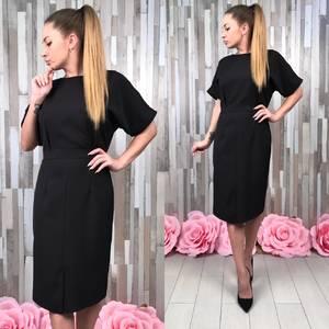 Платье короткое футляр черное С9236