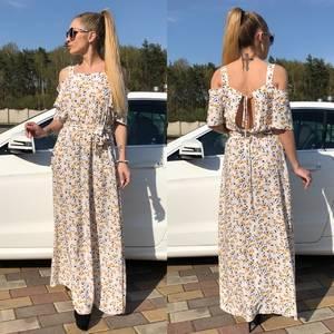 Платье длинное летнее с открытыми плечами С9499