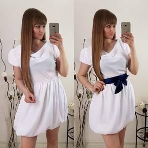 Платье короткое коктейльное белое Т0539