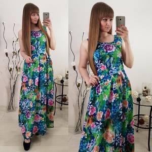 Платье длинное летнее без рукавов Т0543