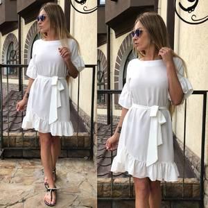 Платье короткое с рукавом 3/4 белое Т0468