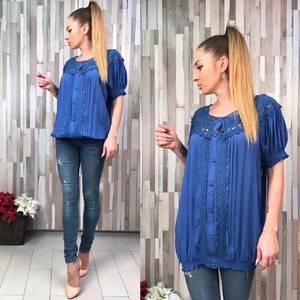 Рубашка синяя с коротким рукавом с кружевом Т0589