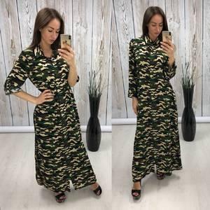 Платье рубашка длинное с принтом Т0490
