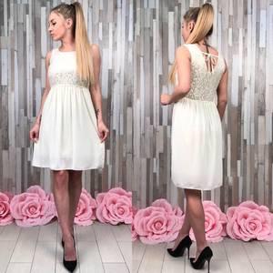 Платье короткое коктейльное белое Т0749