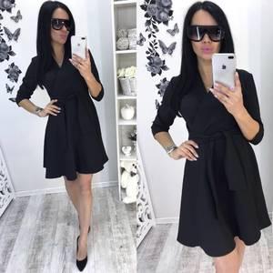 Платье короткое коктейльное черное Т0751