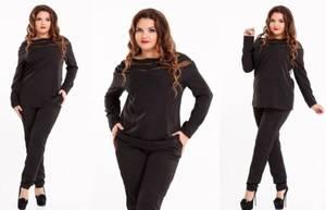 Костюм черный деловой модный Т0761