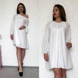 Платье короткое повседневное белое Т0909