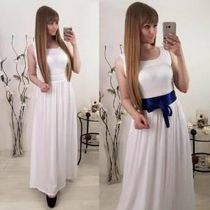 Платье длинное белое нарядное Т1158