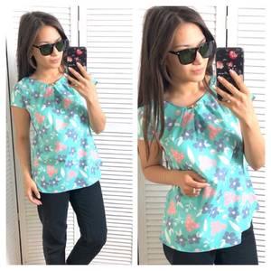 Блуза голубая с цветочным принтом Т1564
