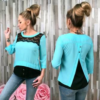 Блуза голубая с кружевом С7524