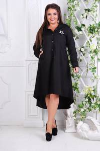Платье длинное деловое черное С7796