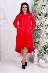 Платье длинное деловое красное С7797