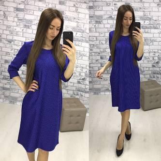 Платье короткое деловое синее Р3724