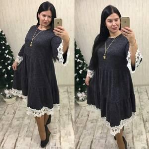 Платье длинное с кружевом черное П9930