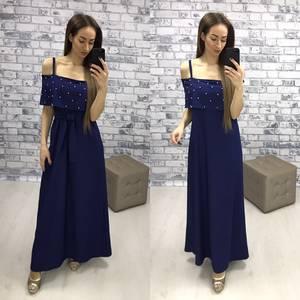 Платье длинное летнее с открытыми плечами Р2265