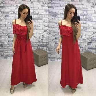 Платье длинное красное с открытыми плечами Р2266
