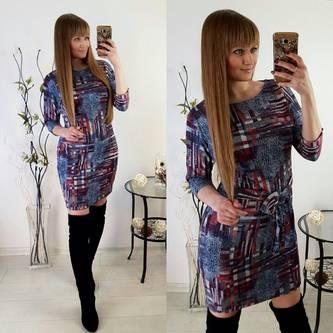 Платье короткое облегающее с принтом Р2017