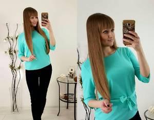 Блуза голубая для офиса Р2486