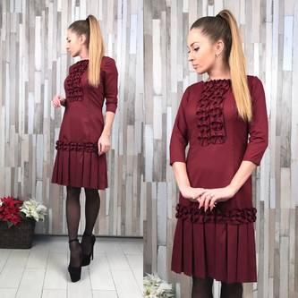Платье короткое повседневное однотонное Р3689