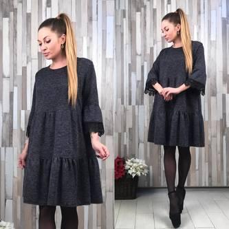Платье короткое деловое черное Р2044