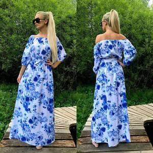 Платье длинное с принтом нарядное Т7928