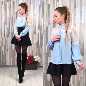 Блуза голубая с длинным рукавом для офиса Р1689