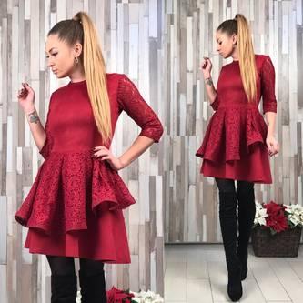 Платье короткое коктейльное однотонное Р2040