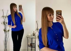 Блуза синяя для офиса Р2481