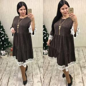 Платье длинное с кружевом вечернее П9931