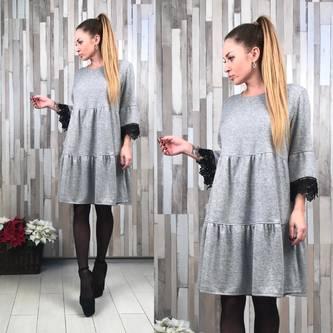 Платье короткое деловое однотонное Р2045