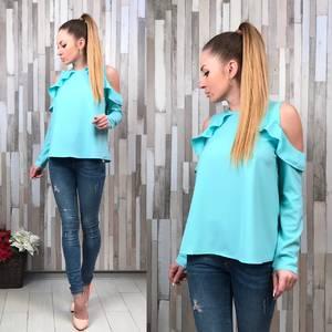 Блуза голубая с длинным рукавом Р3786