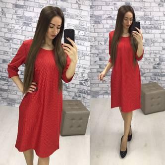 Платье короткое деловое красное Р3725