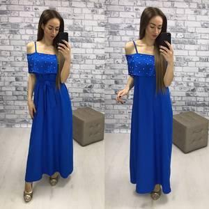 Платье длинное синее с открытыми плечами Р2267