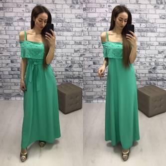 Платье длинное зеленое с открытыми плечами Р2268