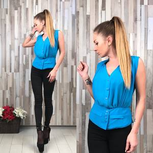 Блуза голубая без рукавов Р4299