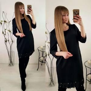 Платье короткое деловое черное Р4227