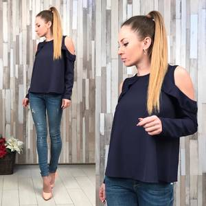 Блуза синяя с длинным рукавом Р5385