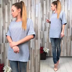 Блуза голубая с коротким рукавом Р5372