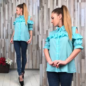 Блуза голубая с коротким рукавом Р5917
