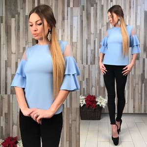 Блуза голубая с коротким рукавом Р6128