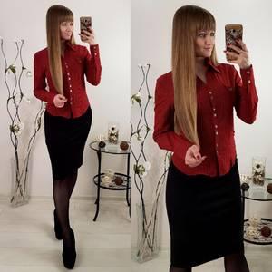 Рубашка красная с длинным рукавом Р6630
