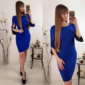Платье  короткое классическое синее Р8120
