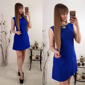 Платье  короткое классическое синее Р8122