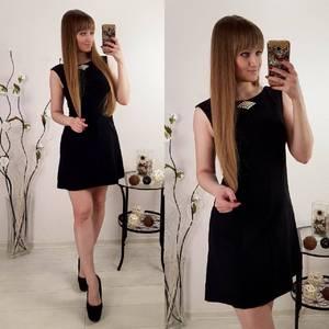 Платье  короткое нарядное черное Р8125