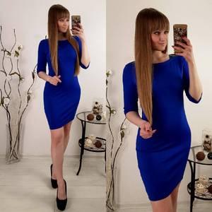 Платье  короткое нарядное синее Р8126