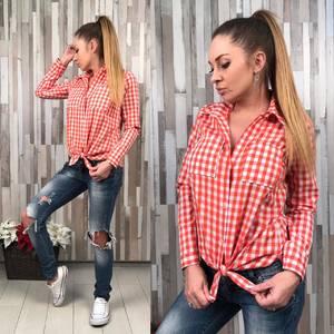 Рубашка в клетку красная с длинным рукавом Р8415
