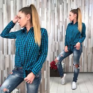 Рубашка в клетку с длинным рукавом Р8416