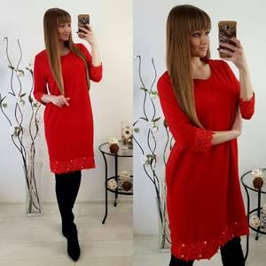 Платье короткое зимнее красное Р8418