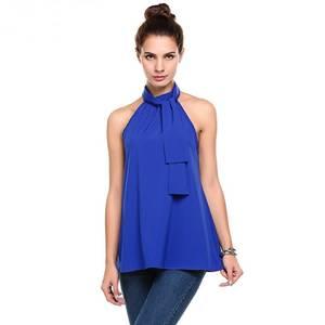 Блуза летняя синяя без рукавов Р9142